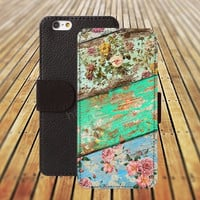 colorful flowers wood iphone 5/ 5s iphone 4/ 4s iPhone 6 6 Plus iphone 5C Wallet Case , iPhone 5 Case, Cover, Cases colorful pattern L020