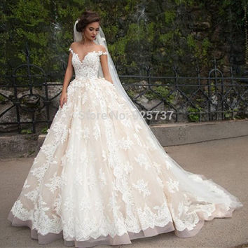white wedding dress plus size Wedding Dresses Lace Appliques arab Wedding Dress 2016 Sweetheart ballgown arabic bridal dresses