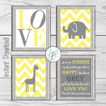 Yellow and Grey Nursery Decor, Giraffe Nursery Wall Decor, Elephant Nursery Print, You Are My Sunshine Print, Yellow and Grey Baby Gift