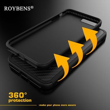 Roybens For Apple iPhone 7 Case Fiber Carbon Shockproof Anti-Knock Heavy Duty Soft TPU Hybrid Armor Cover For iPhone 7 Plus Case
