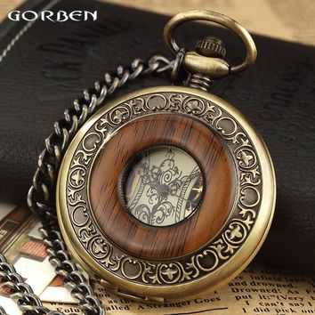 Wooden Circle Vintage Steampunk Mechanical Pocket Watch With Chain Hand Wind Skeleton Bronze Necklace Clock Women Men Xmas Gift