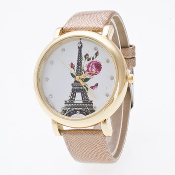 Crystal 3D Eiffel Tower Roses Watch