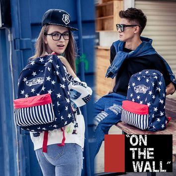 VansFashion Personality printing large capacity backpack bag leisure travel boom Stars stripe 7 style