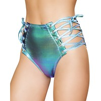 Holographic Side Lace Up High Waist Rave Shorts
