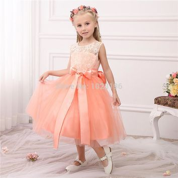 2016 Hot Real Princess Peach Lace Tulle Flower Girl Dresses Sash Tea Length Infant Little Girl Birthday Party Dresses