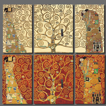 3 Pcs Klimt Art Expectation Life Trees Wall Art Pictures Decoration Canvas Paint