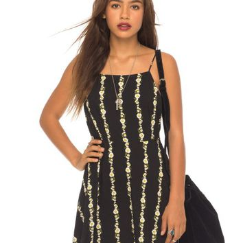 Magali Skater Dress in Daisy Chain Black by Motel