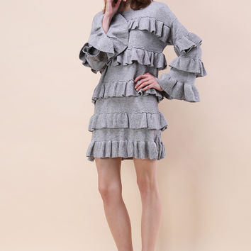 Tiered Fantasy Sweater Dress in Grey