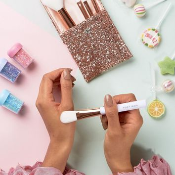 New Look Glitter Pouch Cosmetics Brush Set at asos.com