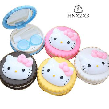 HNXZXB  Cute Cartoon Cat Creative Travel Contact Lenses Box Contact lens Case Storage Box for Eyes Care Kit Holder Container