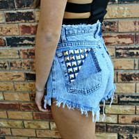 WLDHRTS Vintage ACID WASH Studded High Waisted Denim Shorts M