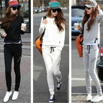 2PCS NEW Womens Sportwear Sweater Hoodies Blouse Pant Tracksuits Set = 1931610756