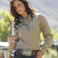 Shirts :: Ladies :: Apparel :: Fort Western Online - type: collared shirt, sleeve: long sleeve, color: solid