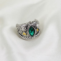 The Lord Of The Hobbt Antique Silver Emerald Crystal Aragorn Finger Rings Movie Jewelry For Men Gift