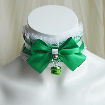 Premade Kittenplay choker - Poisonous Ivy - green - ddlg cgl princess neko nekomimi cute fantasy lolita petplay kitten play collar nekollars