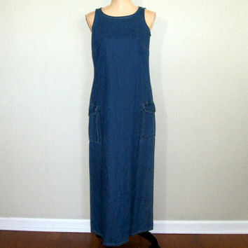Denim Jumper Dress Petite Small Maxi Dress Blue Denim Dress Sleeveless Pocket Dress Womens Dress Liz Claiborne FREE SHIPPING Womens Clothing