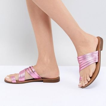 Pieces Metallic Leather Multi Strap Flat Sandal at asos.com
