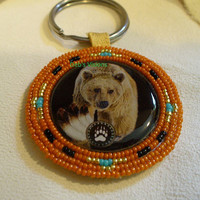 Native American Style Rosette Beaded Bear Key Chain