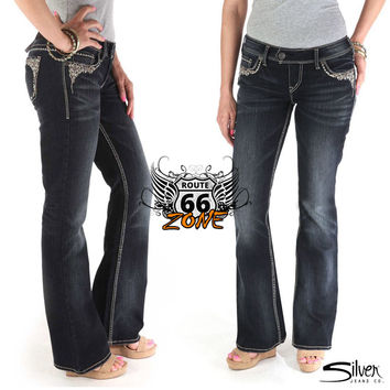 """Silver Jeans """"Tuesday"""" Well Defined Curve Embroidered Mid Slim Boot Cut Dark Wash"""