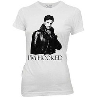 Once Upon A Time I'm Hooked Licensed Women's Junior T-Shirt - White - S