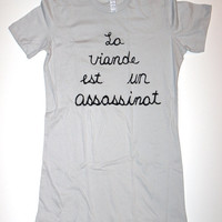 Womens Meat is Murder in French T Shirt S M L XL the smiths morrissey silver vegan vegetarian