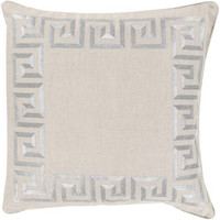 Silver Greek Key Linen Pillow