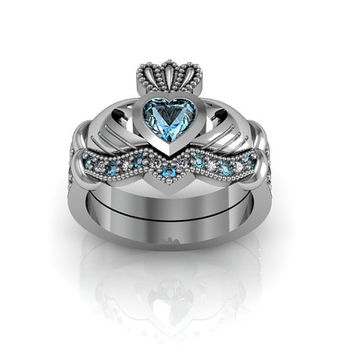 Sterling Silver Blue Topaz  Claddagh  Love and  Friendship Engagement Ring Set