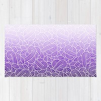 Ombre purple and white swirls zentangle Rug by Savousepate