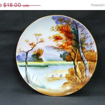 25 % OFF SALE Ucagco China Japan Hand Painted Wall Plate Autumn Lake Scenery Swans Geese