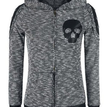 Deep Gray Hooded Skull Print Faux Leather Zip Up Hoodie