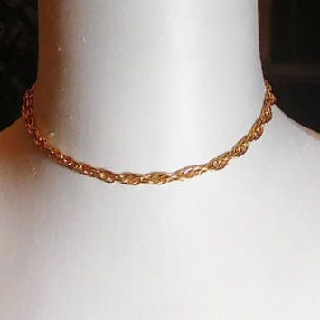 "Chain Collar Necklace, Gold Tone Choker, Adjustable 11 1/4"" to 16 1/4"", Never Worn, Vintage 70s 80s, Costume Jewelry"