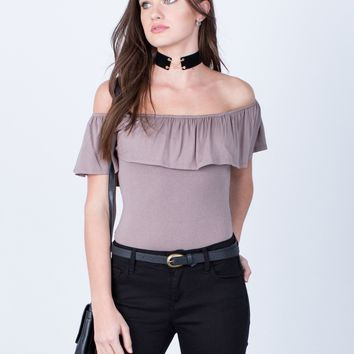 Off-the-Shoulder Ruffle Bodysuit