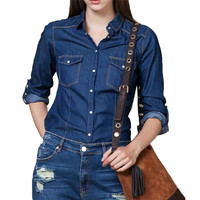 Women elagant blue denim shirts turn-down collar blouse long sleeve pockets shirts Blusas Femininas fashion casual tops