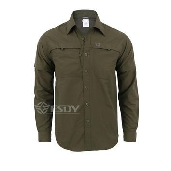 Hiking Shirt camping Men's Detachable Long Sleeve Quick Dry Shirt Military Tactical Outdoor Hiking Breathable Anti UV Removable Lapel Cardigan Tops KO_17_1