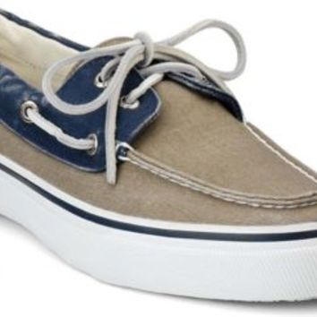 Sperry Top-Sider Bahama 2-Eye Boat Shoe Navy/TaupeCanvas, Size 12M  Men's Shoes