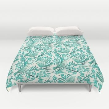 Blue Birds Duvet Cover by CRYSTAL WALEN