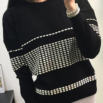 Black Long Sleeve Printed Sweater