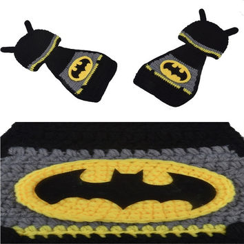 Unisex Beautiful and so cute Kintted Hand Crochet Baby Photography Props Newborn BATMAN Hat and Cover Set Infant Animal Beanie Hats = 1927952260