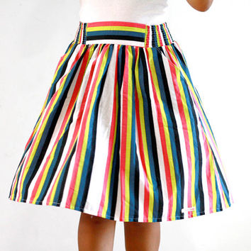 Striped Skirt,Teal, yellow, orange, white, colorful midi skirt
