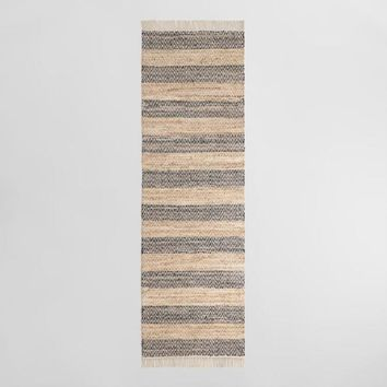 Geometric Stripe Leather and Cotton Chindi Ryker Area Rug