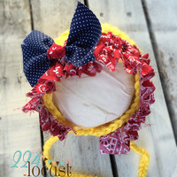 Bonnet, Bonnet in Size 0-3 mos, Yellow Baby Bonnet, Baby Girl Bonnet, Photo Props, Photography Props, Baby Bonnet, Baby Shower, Country