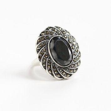 Vintage Art Deco Hematite & Marcasite Ring - Size 7 1920s 1930s Sterling Silver Statement Fan Jewelry