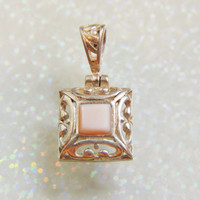 Sterling Silver Angel Skin Coral Filigree Pendant
