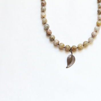 leaf jewelry / leaf charm / jade necklace / handmade bead necklace / bronze brown tan / nature inspired / natural / woodland rustic spring