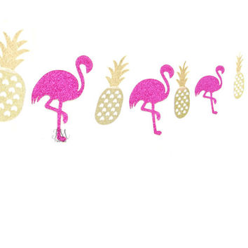 Tropical glitter flamingo & pineapple garland  - glitter garland, tropical glitter garland, pineapple garland, flamingo garland