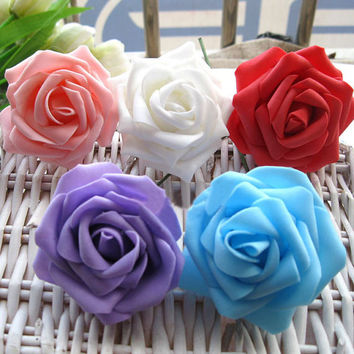 100pcs/lot Foam Rose Flower High Quality Head Artificial Rose Flowers Bouquet Handmade Wedding Home Decoration Festive & Party Scrapbook DIY