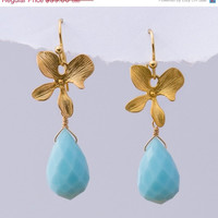 ON SALE - Faceted Blue Quartz stones with Matte Finished 16K Gold Plating Orchid Flowers -
