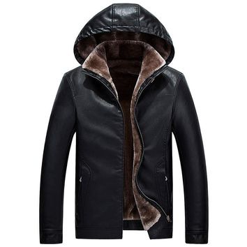 Men's Winter Motorcycle Biker  Jackets Warm PU Large Outerwear Thick Hoodies Leather Coats