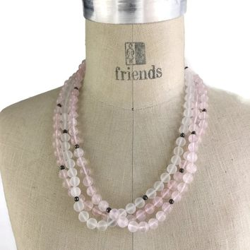 Vintage Rose Quartz and Sterling Silver Bead Multi Strand Necklace with Silver Metal Bow Clasp, Hand Knotted, Bridal wedding Necklace,