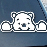 "Pooh Bear Peeking Car Window Vinyl Decal Sticker 6"" Wide (Color: White)"